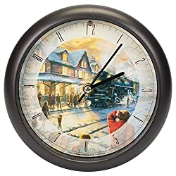 Mark Feldstein & Associates Wall Clock AA Alkaline Eight Inch Thomas Kinkade All Aboard for Christmas with Brown Frame