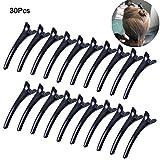 30pezzi Mollette professionali per i capelli, plastica nera, dentate, design no slittamento mollette a coccodrillo per donne e ragazze
