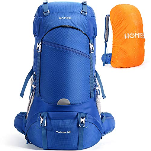 HOMIEE Hiking Backpack 50L Travel Camping Daypack with Rain Cover for Outdoor Sport, Backpacking,...