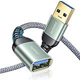 AINOPE 2 Stück 2M+2M USB Verlängerung Kabel USB 3.0 Verlängerungskabel A Stecker auf A Buchse mit eleganten Alluminiumsteckern, Nylon Stoffmantel für Kartenlesegerät,Tastatur, Drucker, Scanner
