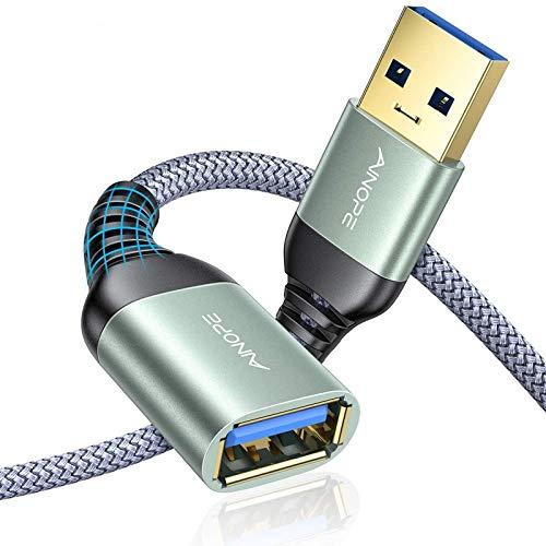 2 Stück 2M+2M USB Verlängerung Kabel AINOPE USB 3.0 Verlängerungskabel A Stecker auf A Buchse mit eleganten Alluminiumsteckern, Nylon Stoffmantel für Kartenlesegerät,Tastatur, Drucker, Scanner
