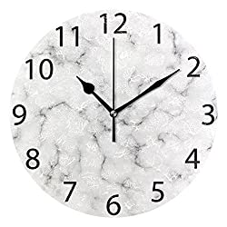 ALAZA White Marble with Black Veins Round Acrylic Wall Clock, Silent Non Ticking Oil Painting Home Office School Decorative Clock Art