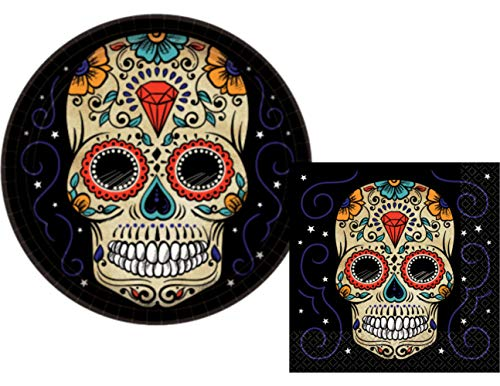 Sugar Skull Day of The Dead Party Plates and Napkins for 18 People