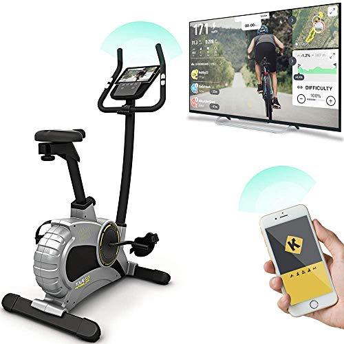 Bluefin Fitness Tour 5.0 Hometrainer Spin Bike Heimtrainer Fahrrad | Live Video Training | Bluetooth | Kinomap Handy App | Fitness Geräte für zuhause | Schwarz & Grau Silber