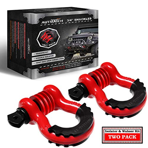 """AUTMATCH Shackles 3/4"""" D Ring Shackle (2 Pack) 41,887Ibs Break Strength with 7/8"""" Screw Pin and Shackle Isolator & Washers Kit for Tow Strap Winch Off Road Vehicle Recovery Red & Black"""