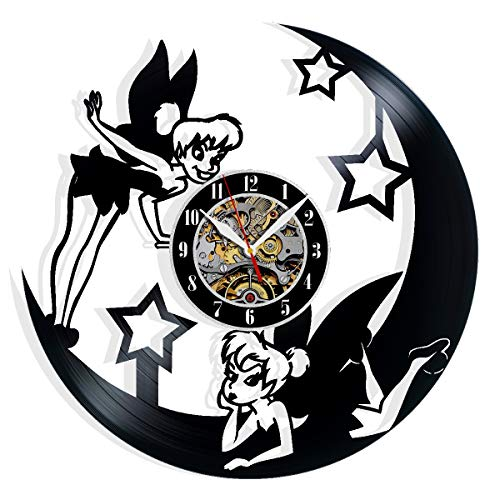 Tinkerbell Vinyl Record Wall Clock Art Home Decor Interior Design Best Gift for Fans Room Wall Art