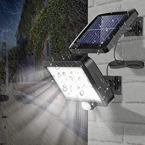 Solarleuchten für Außen mit Bewegungsmelder, 3 Modi 56 LED Solarlampe Außen 120° Superhelle Solarleuchte mit Bewegungsmelder, IP67 Wasserdichte LED Solarleuchte mit 16.5ft Kabel für Hof Garten Garage