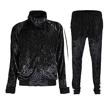 G-Style USA Men s Velvet Velour Tracksuit Set - Zipper Jacket and Sweatpants ST851 - Black - X-Large
