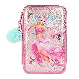Depesche 10997 Gefüllte Federtasche im Fantasy Model Fairy Design, ca. 7 x 13 x 20 cm groß, mit 3 Fächern und Stiften von Lyra, Lineal, Schere, Kleber und einem kleinen Spiegel, pink