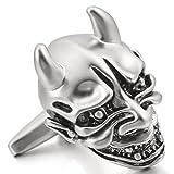 MunkiMix 2 Pieza Rodio Plateado Gemelos El Tono De Plata Negro Diablo Cráneo Calavera Gótico Gothic Camisa Alianzas Boda Negocios 1 Coppia Conjunto Set Hombre