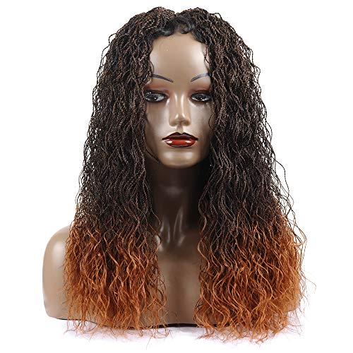 """Braided Wigs, Shining Star 22"""" Pure Handmade Micro Braided Water Wave Synthetic Hair Lace Front Wigs with Babay Hair for Women"""