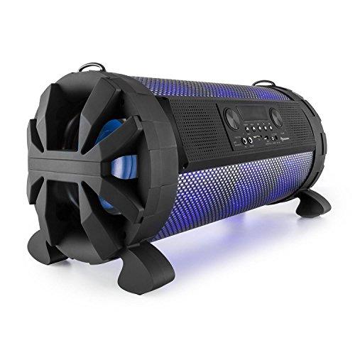 auna Thunderstorm tragbarer Lautsprecher Boombox Ghettoblaster (Bluetooth, 120 Watt max, MP3-fähiger USB-Port und SD-Slot, Line-In, LED-Display, App-Steuerung, Tragegurt) schwarz