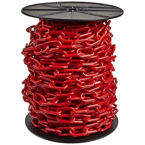 Mr. Chain Heavy-Duty Plastic Barrier Chain Reel, Red, 2-Inch Link Diameter, 100-Foot Length (51105)