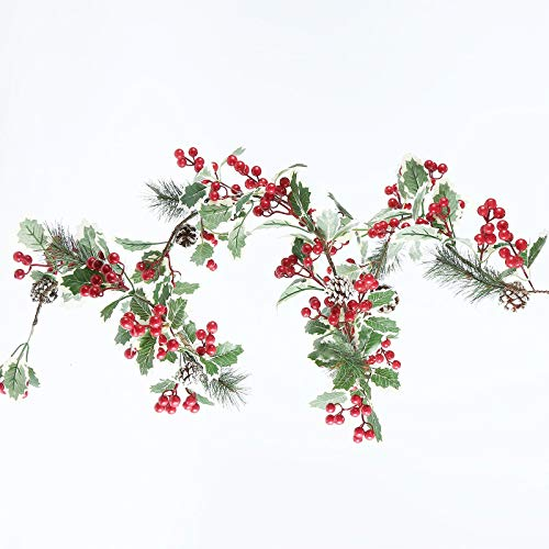 NBRR Pre-Lit 9 Feet by 10'' Christmas Garland,Xmas Garland Prelit Greenery with Battery Operated LED Lights, Outdoor Door Garland Christmas Holiday & Office Decoration (C)