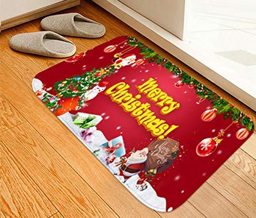 homeyuser Fußmatte mit Weihnachtsmotiv, Schmutzfangmatte für Tür, Flur, Küche, Badezimmer, Schlafzimmer, Merry, 40 x 60 cm