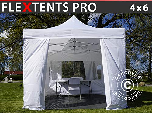 Dancover Visitor tent FleXtents Pop up canopy Folding tent PRO 4x6 m White, incl. 8 sidewalls and 1 transparent partition wall