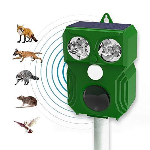 Ultraschall Solar Tiervertreiber - Marderschreck, Katzenschreck, Tierschreck, Waschbären inkl. Netzteil und Erdstab, Wetterfest IP44