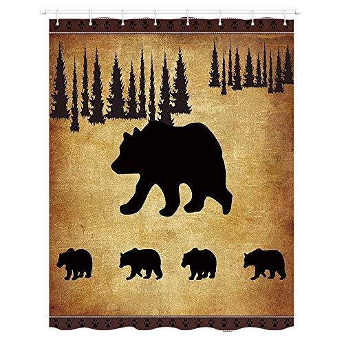 JAWO RV Duschvorhang, schwarzer Bär, rustikales Kiefer, Walddesign, Tierkunst, Stoff, Vorhänge für Wohnmobil, Anhänger, Camping, Badezimmer, 119,4 x 162,9 cm, Haken enthalten