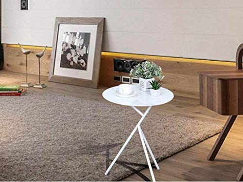 N/Z Home Equipment Wrought Iron Coffee Table Round Small Coffee Table Sofa Side Table Restaurant Coffee Table Lamp Stand Desk Stand Nesting Tables (Color : White)