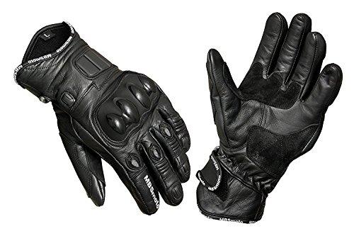 MBSmoto - Guantes de piel con protecciones para motocicletas, negro, small
