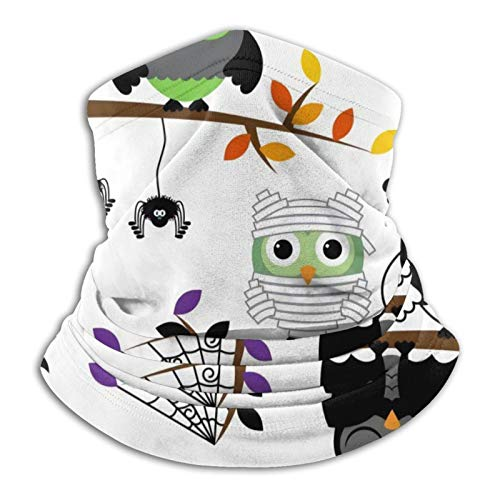 GKAOSPLSR Calentador de cuello de microfibra reutilizable para hombres y mujeres, resistente al viento, transpirable, bandana para correr, ciclismo al aire libre, lindo búho de Halloween