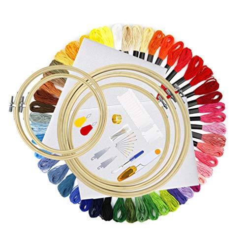 VORCOOL Kit de Inicio de Bordado para Principiantes Agujas Kits de Punto de Cruz Bordado Arte Fabricación de Manualidades Suministros