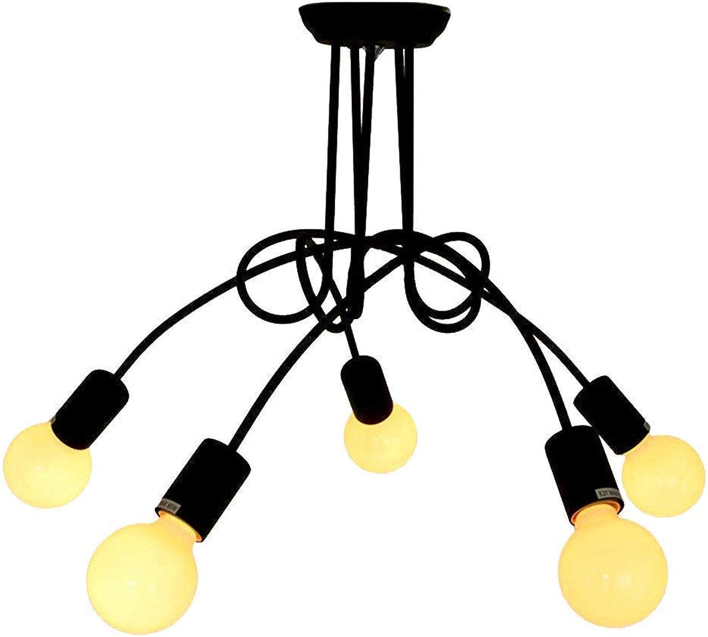 Sin impuestos BYDXZ   Semi Flush Mount Lámpara Lámpara Lámpara de Techo Estilo Metal Lazo Nudo Accesorio Industrial Vintage con 6 luz-Negro -  disfrutando de sus compras