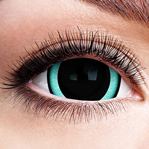Farbige Kontaktlinsen ohne Stärke mit Motiv Rand Mini Sclera Linsen Halloween Karneval Fasching Cosplay Anime Manga Blaue Augen Horror Blue Eyes Eisblau Engel Elfe Blau Schwarz 17mm