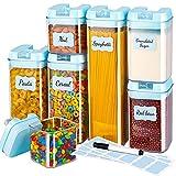 Gesentur Botes Cocina 7 Piezas, Recipiente de Hermética Almacenaje Plástico de Alimentos con Tapa, Se Utiliza para Almacenar Cereales, Pasta, Harina, Arroz, Etc (Azul)