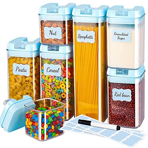 Gesentur Contenitori Alimentari Set 7 Pezzi, Contenitori Pasta, Contenitori Ermetici Alimentari Plastica con Coperchio, Utilizzato per la Conservazione di Cereali, Pasta (Blu)