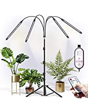 CXhome LED Grow Light, Plantenlamp met Standaard, RF Afstandsbediening & Bedrade Timing 4/8/12 H, 4 Schakelmodi & 10 Trapsdimmen, Stabiel Verstelbaar 39~150cm, voor Kamerplanten