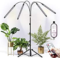 CXhome LED Grow Light with Tripod Grow Light, RF Wireless Remote Control & Cable Operated Timing 4/8/12H, 4 Switch Modes...