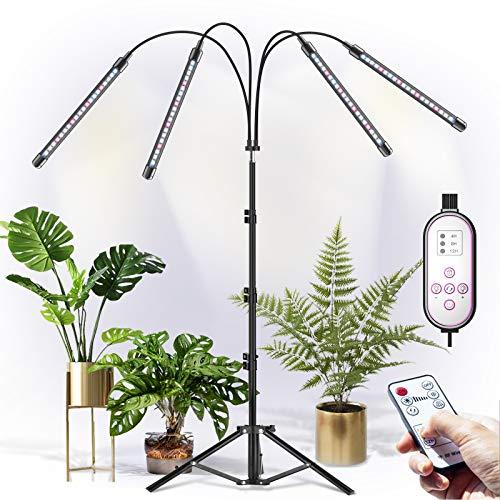 CXhome LED Växtlampa med Stativ Grow Light, RF Trådlös Fjärrkontroll & Kabelstyrd Timing 4/8/12 H, 4 Växlingslägen & 10 Stegs Ljusstyrka, Stabil Justerbar 15,7-43,3 tum, för Inomhusväxter