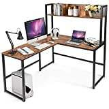Tangkula 55 Inches L-Shaped Desk with Storage Hutch, Space...