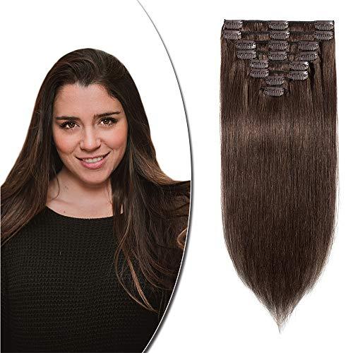 Extension Capelli Veri Clip 8 Fasce 100% Remy Human Hair Extension Clip Capelli Naturali Lisci Clip in Extension 55cm, 4 Marrone Cioccolato