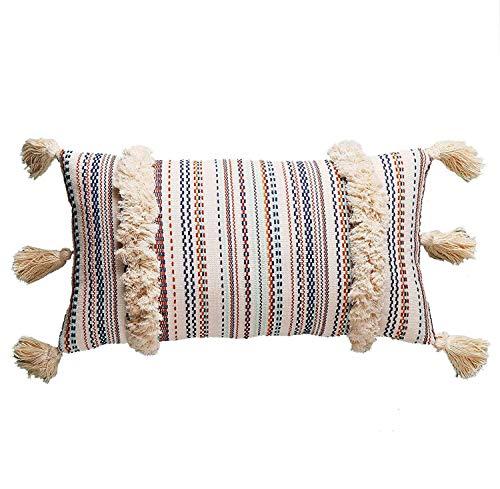 Flber Lumbar Throw Pillow Decorative Pillows Tassel Textured Woven Sham,12'X20'