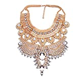 NABROJ Fashion Gold Necklaces with Clear Crystals Jeweled Collar Necklace Silver Choker Costume Jewelry for Women 1 Pc-HL23 Gold Silver