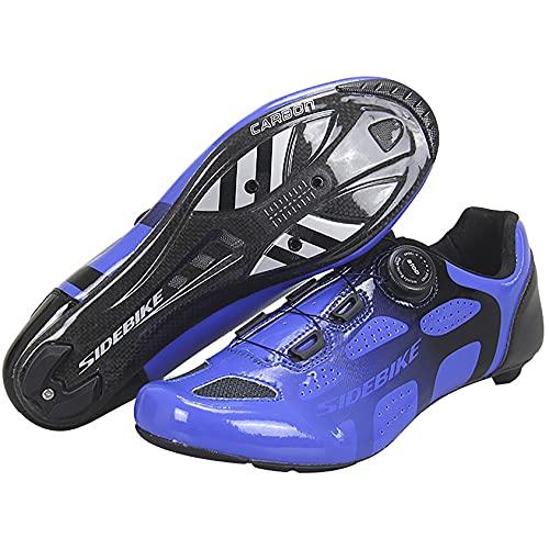 RTY Fibra DE Carbon - Zapatillas de Bicicleta, Accesorios de Ciclismo de Fibra de Carbono, Ligeros Resistentes al Desgaste Zapatos Deportivos de Bicicletas,Azul,44