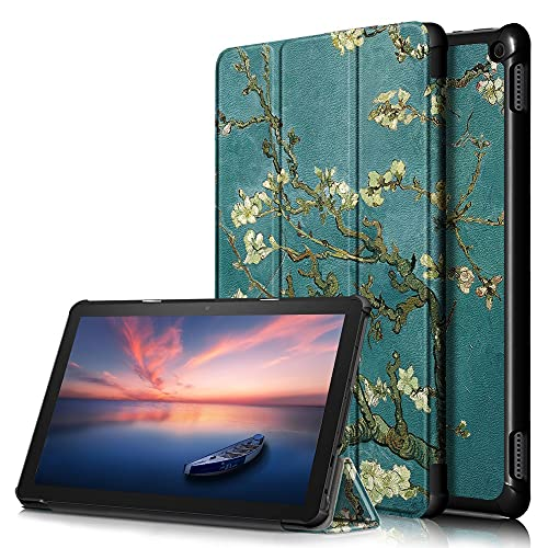 Yhuisen Ultra Slim PU Cuero Smart Auto Sleep/Wake Trifold Stand Cover for Kindle Fire HD 10 2021 / HD 10 más 2021 (Color : A5)