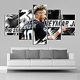 SFXYJ Creative HD Neymar Pósteres 5 Piezas De Jugadores De Fútbol Pósteres Arte De La Pared Lienzos Pinturas Deportes Impresiones Imágenes Niños Habitación Decoración,A,20×35×2+20×45x2+20x55×1