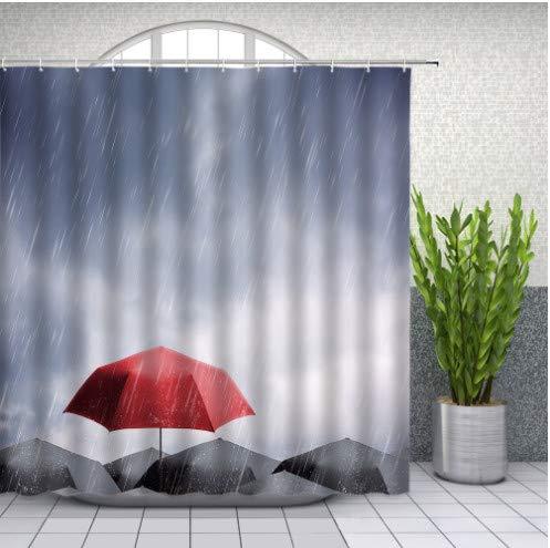 daimin PVC Schwarz Rot Regenschirm Duschvorhänge Regen Landschaft Badezimmer Dekor Home Bad Wasserdichter Polyester Stoff Vorhang 180x200cm mit Haken