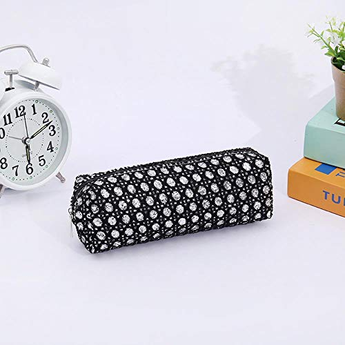 Pencil Box with Diamond Canvas Pen Student Women's Zipper Large Capacity Stationery Bag,Black
