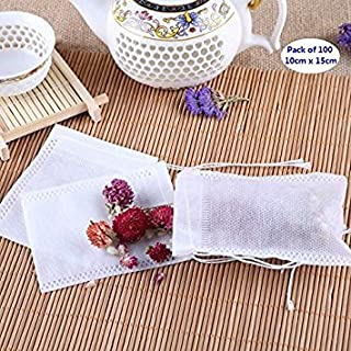 AKOAK 100 Pack Disposable Drawstring Tea infusers Tea Filter Bags for Loose Tea Herbs Spice Bouquet Garni Potpourri Bags(3...