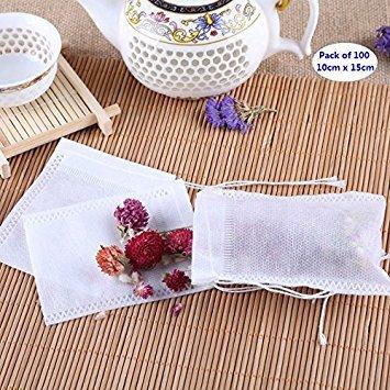 AKOAK 100 Pack Disposable Drawstring Tea infusers Tea Filter Bags for Loose Tea Herbs Spice Bouquet Garni Potpourri Bags(3.93' x 5.9' /10 x 15cm)