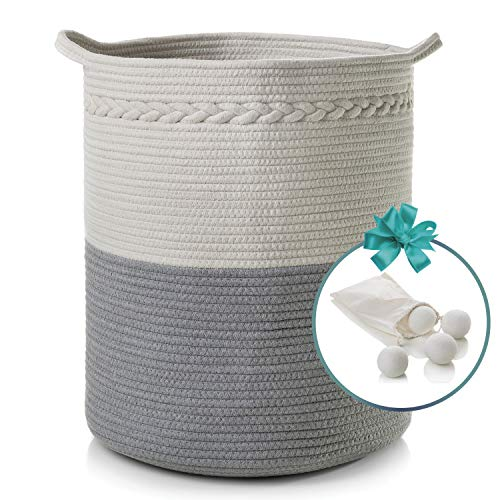 Cotton Rope Basket with Handles  XL 18 x 16  Woven Baby Laundry Basket for Blankets  Decorative Clothes Hamper Basket  Baby Nursery Storage Bins  Cotton Rope Organizer