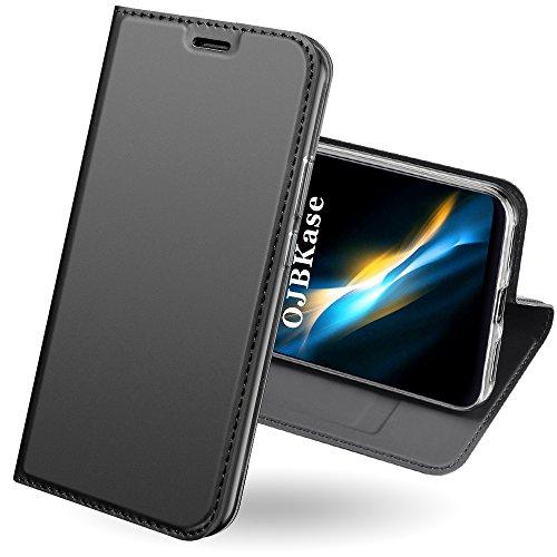 OJBKase Xiaomi Redmi 5 Plus Hülle, Premium Slim PU Leder Handy Schutzhülle [Kartensteckplatz] Tasche Lederhülle Handyhülle (Schwarzgrau)