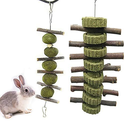 N/0 Giochi Coniglio Nano 2PCS Giocattoli per Coniglio Giocattolo Molare per Animali Domestici Naturali Usato per Coniglio Cincillà Criceto (Ramo di Melo + Torta di Erba)