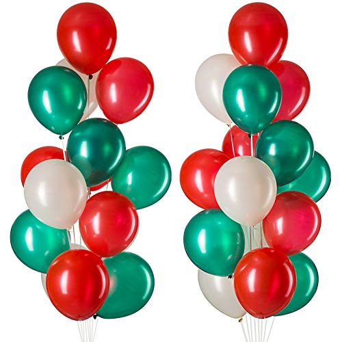 MOWO 12' Red Green White Party Balloons, Shiny Pearlescent Latex Helium Balloons, Thicken 3.2g/pcs, Pack of 100