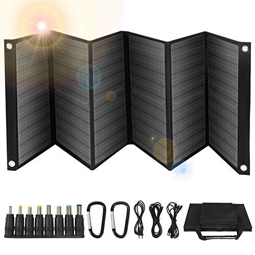 60W Portable Solar Panel, 6 Panel Foldable Solar Charger with Dual USB Ports & 18V DC Output for Portable Power Station, Solar Generator for Cell Phone GoPro Laptop Tablet GPS iPhone iPad Camera