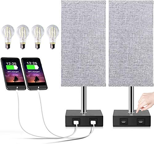 Set of 2 Touch Table Lamp with Bulbs, Grey Bedside Table Lamp with USB Charging Ports for Bedroom Living Room Gift, 2 Nightstand Lamp with 4 Bulbs